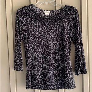 Kim Rogers Cheetah Print Shirt size Small